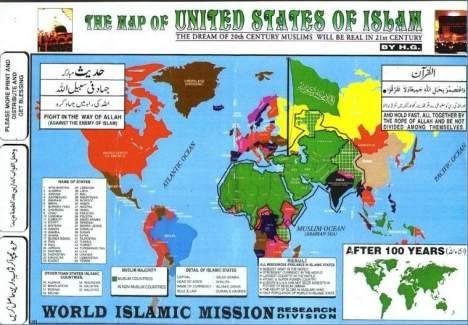 peta negara-negara mayoritas muslim di seluruh dunia