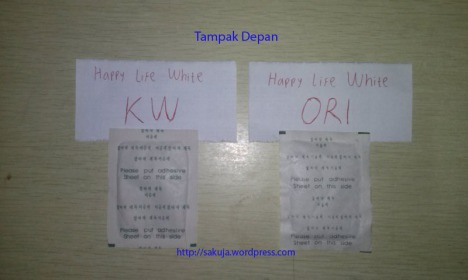 Happy Life white kw vs ori tampak depan